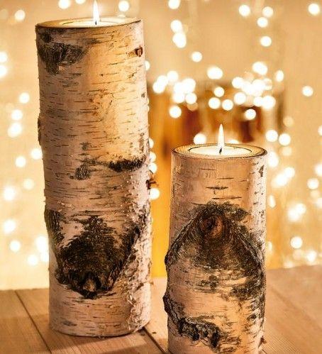 idée déco de Noël : les bougeoirs naturels