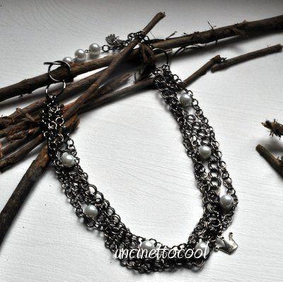 collana catene e perle, DIY, by Uncinettocool