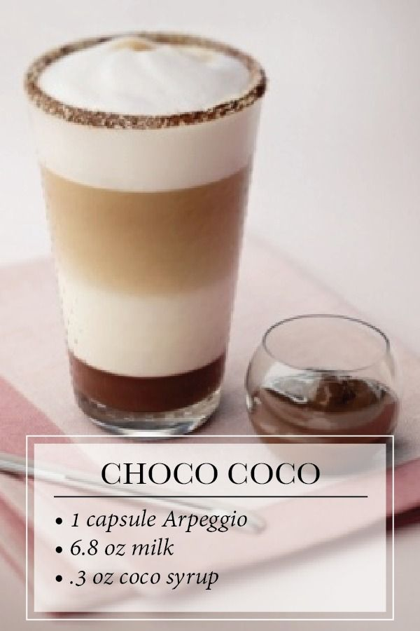 Choco Coco Latte Macchiato | Arpeggio Grand Cru is elevated by the rich notes of chocolate hazelnut spread and enveloped in the delicate and mellow aromas of coconut.