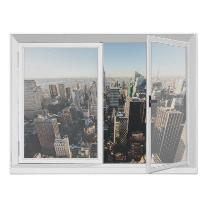 Marvelous New York Skyline City View Fake Window Poster