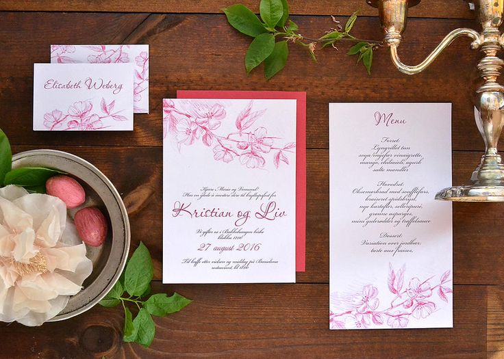 """Cherry in blossom"" watercolor wedding invitation suite on akvarelldesign 