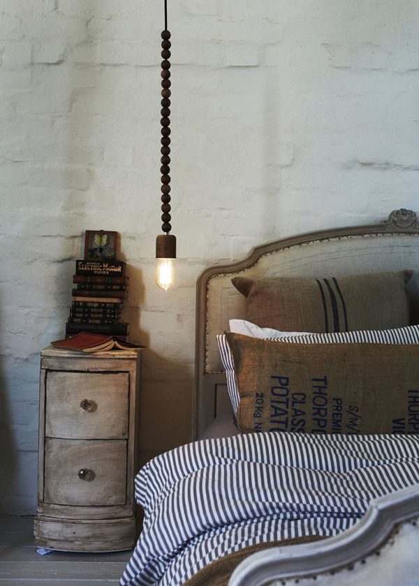 raw linen, sacking + pendant bead lighting