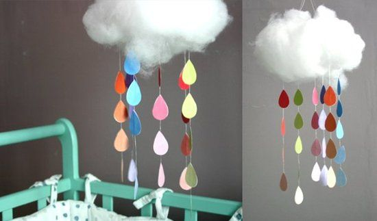 Raindrops keep falling on my head mobile.  So cute!  Tutorial gives you all the details on how to make it.
