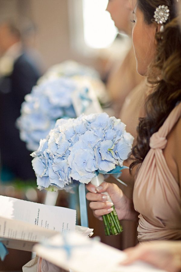 Stewart Parvin wedding dress and pale blue hydrangea wedding bouquets