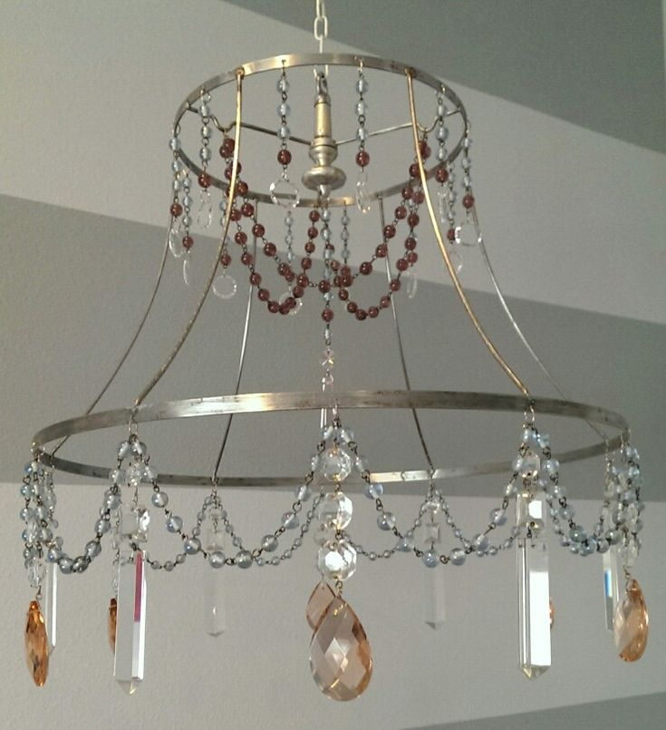 Vintage lamp shade frame strung with beads and crystals to hang above baby crib. One a kind mobile.