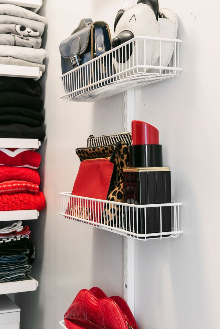 A Magic Fix For Even The Tiniest Closet #refinery29  http://www.refinery29.com/small-walk-in-closet-organization-ideas#slide4  After:  Now the wall becomes a display case for her incredible bag collection. And, the containers used here are actually kitchen trays for spices!