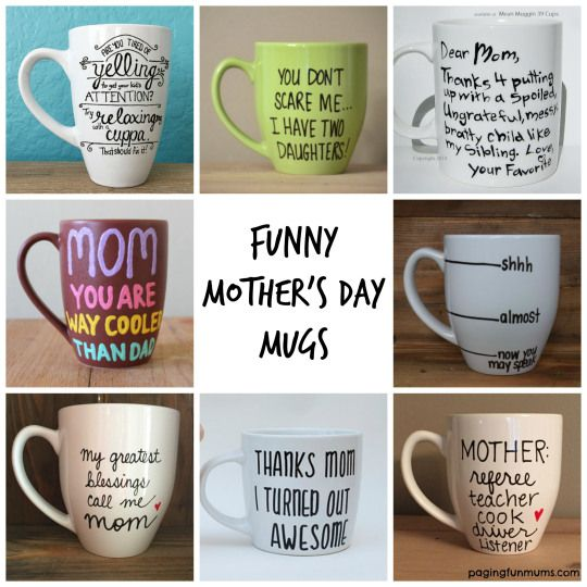Funny Mother's Day Mugs! Love these fun gift ideas!