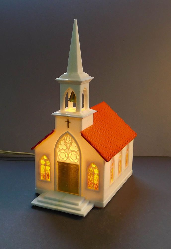 Vintage Lighted Plastic Church Christmas Decoration 1950\u0027s Ghosts