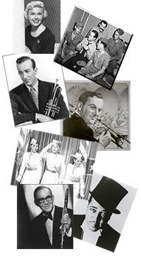 This site has authentic songs from the time period — ballads, Big Band music, political songs, etc.