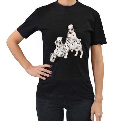 Dalmatian+puppies+1+Womens'+T-shirt+(Black)+Women's+T-Shirt+(Black)