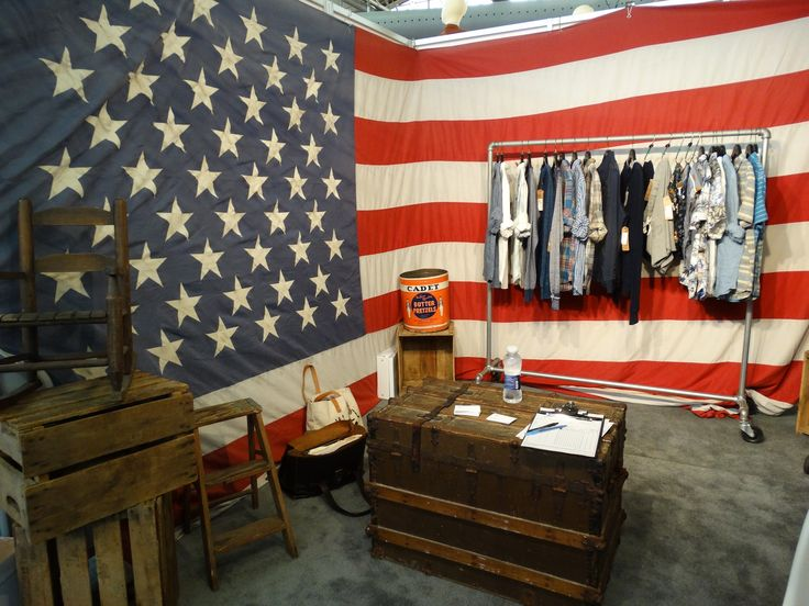 The JACH trade show booth embraces the men's and boys' clothing brand's Americana aesthetic
