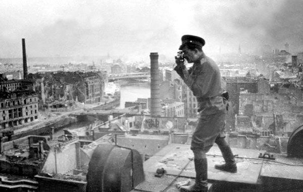 Max Alpert, a Soviet photojournalist, in Berlin, Germany. 1945.