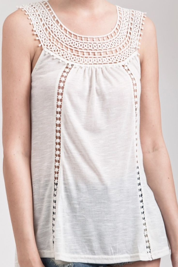 Stitched to Perfection Cream Tank Top
