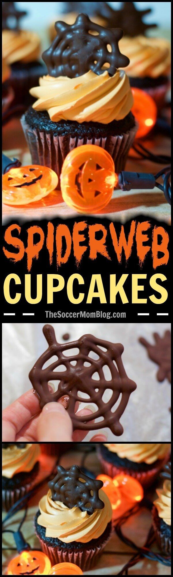 These easy chocolate spiderweb Halloween cupcake toppers will help you create a wow-worthy (and spooky) holiday dessert in record time! #ad #WhippedIcing