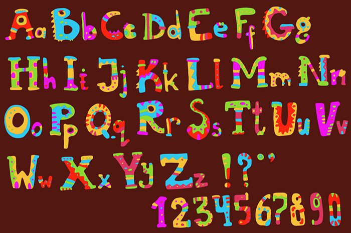 Ethnic brush painted vector alphabet | Design Bundles