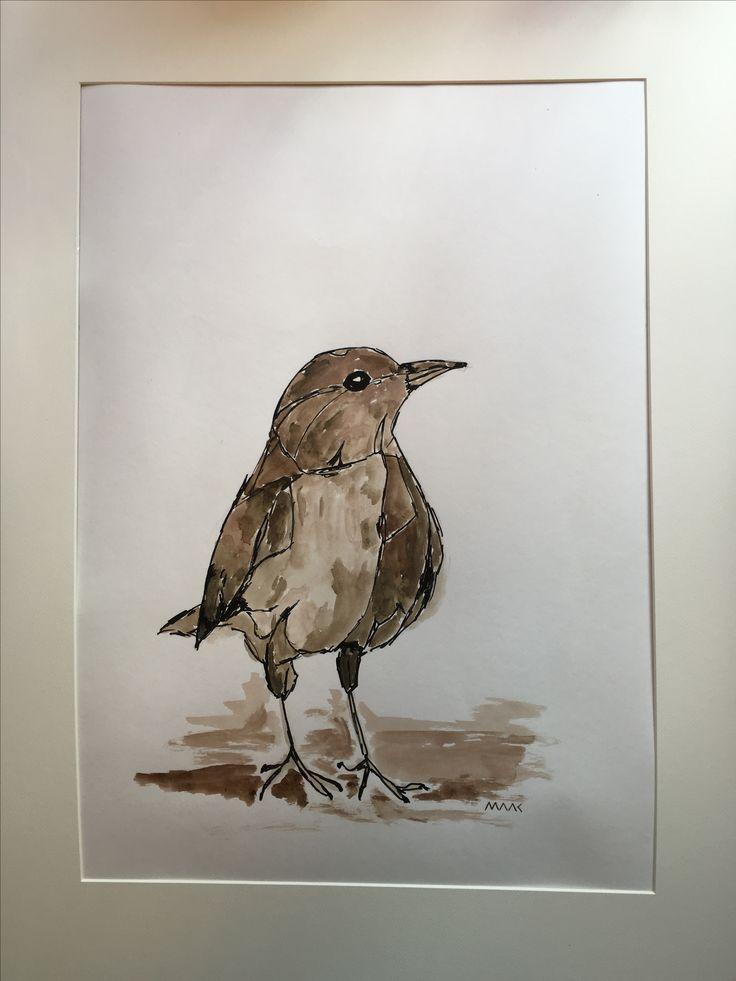 'Huismerel' Gemengde techniek op papier 40x65 cm