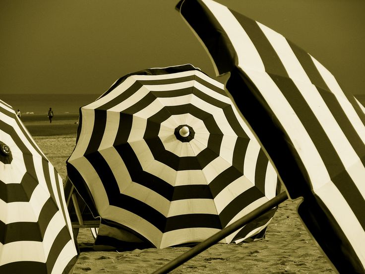 Black and white striped umbrellas