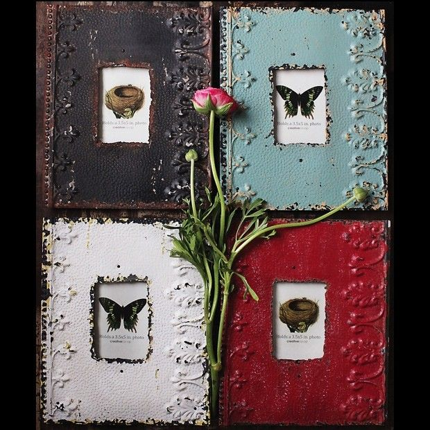 Embossed Metal Picture Frames, Set of 4