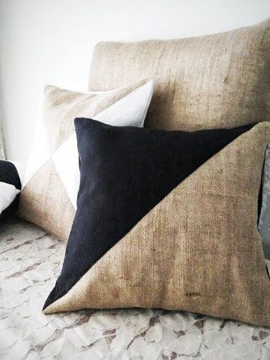 Bohemian Burlap & Linen Cushion Covers - Bohemian Diamond