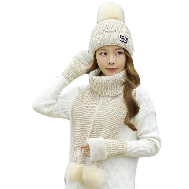 6ed224c84 Warm, Thick Winter Cashmere Hat Scarf Gloves Set 3-Piece Solid Knit ...