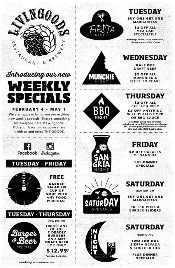 Livingoods Restaurant & Brewery Weekly Specials Poster by Mikey Lemieux