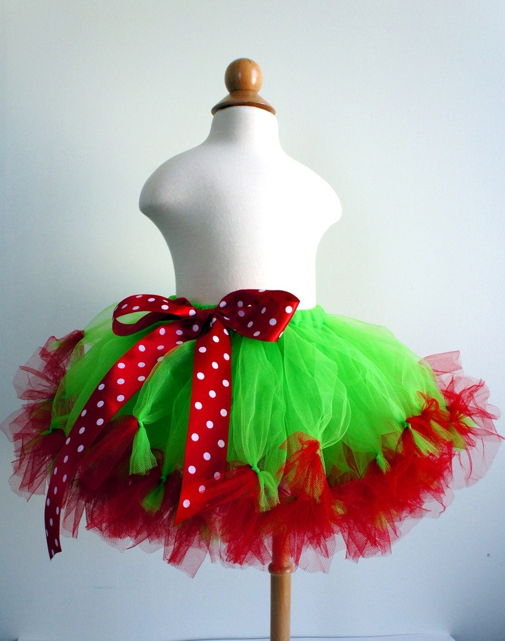 Fluffy Red & green Tutu!! Love the bow