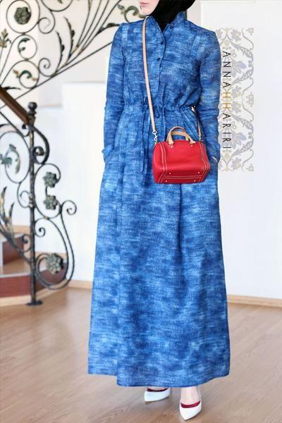 Denim Print Dress www.annahariri.com Maxi denim jeans print dress