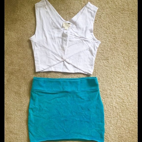 Bodycon Skirt Mini skirt with wide waistband. Tops pictured also listed. American Eagle Outfitters Skirts Mini