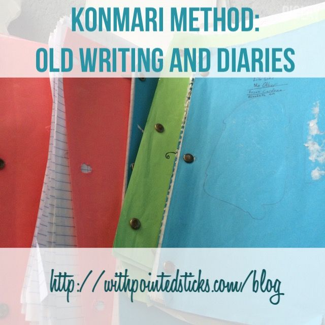 Konmari Method on old writing and diaries. This one is not to be missed, because it is SUPER embarrassing ;)  #konmari #konmarimethod #komono #mariekondo #thelifechangingmagicoftidyingup #decluttering #diaries #writing