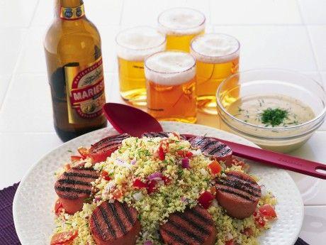 Grillad falukorv, couscous och senapssås