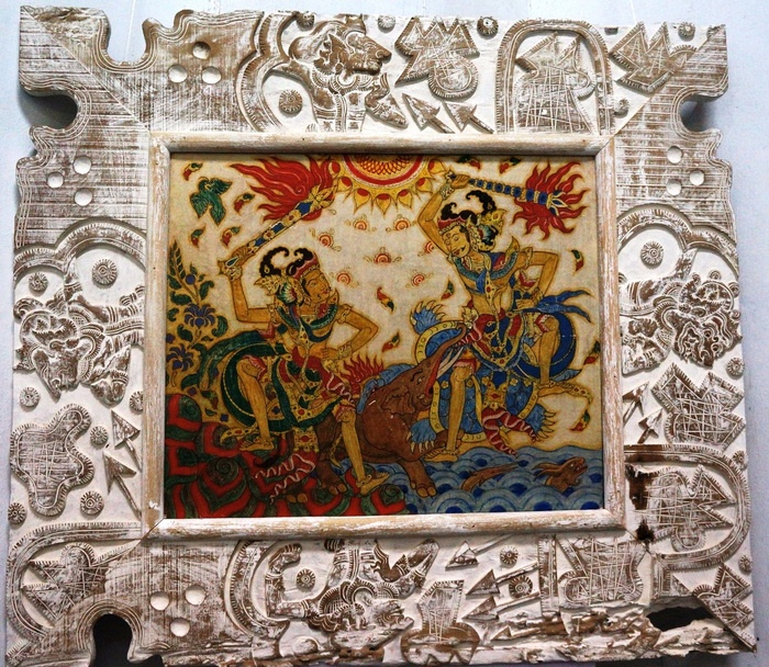 An art painted by Niuenwenkamp from Holland inspired by the Balinese style. Photo by Raditya Margi.