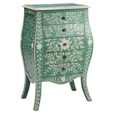 With a bombe-style silhouette and 5 drawers, this hand-painted green and cream chest offers a touch of organic glamour to your decor.