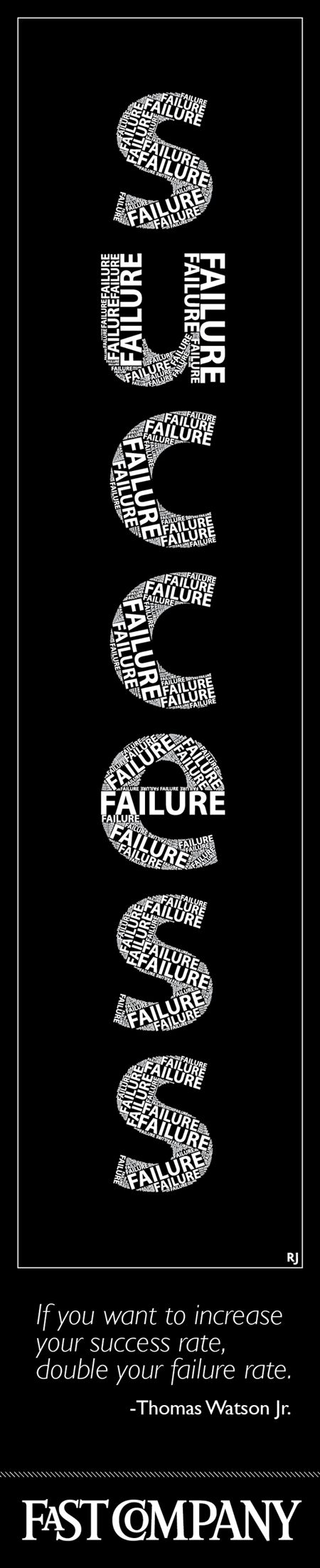 """""""If you want to increase your success rate, double your failure rate."""" -Thomas Watson Jr."""
