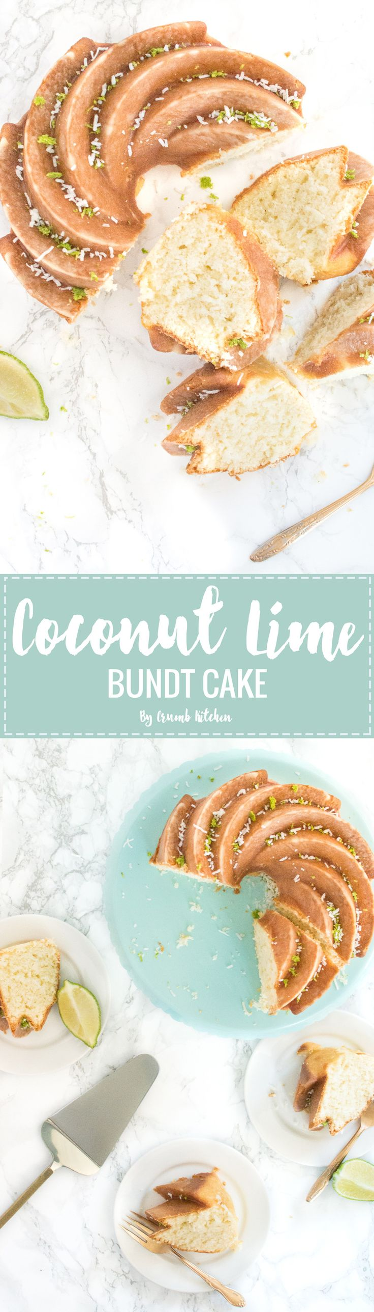 This shredded coconut and lime juice-infused Coconut Lime Bundt Cake makes for a light, moist treat on a warm spring or summer day.   Crumb Kitchen