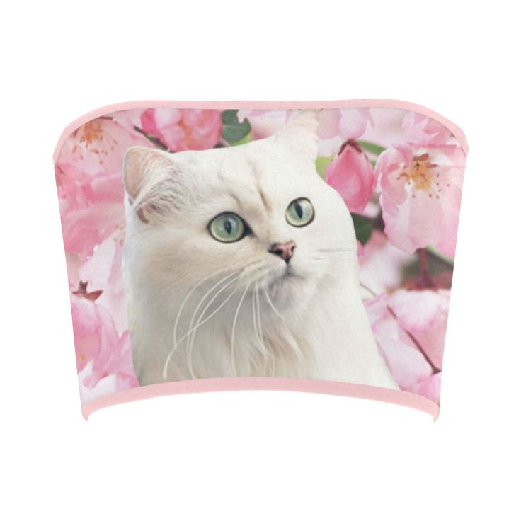 Cat and Flowers Bandeau Top. FREE Returns. #artsadd #tops #cats