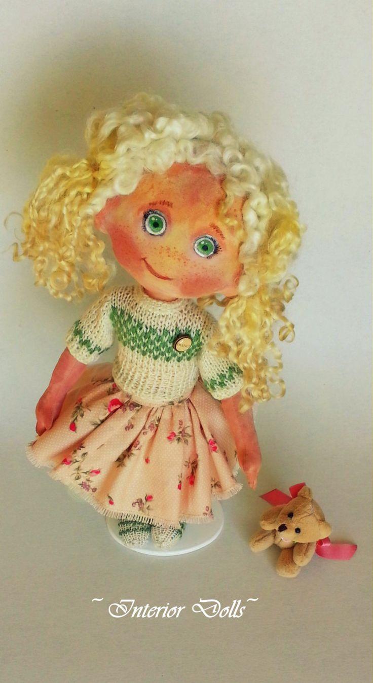 Handmade Doll-Textile Doll-Fabric Doll-Rag Doll-Soft Doll-Home Decoration-Handmade Toy-Baby girl Adeline by IntDolls on Etsy