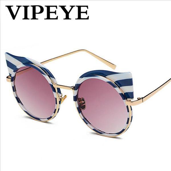 #SUNGLASSES #NEW Black and White Cat Eye Sunglasses Women Brand Designer Zebra Striped Vintage Sun Glasses For Women 2017 Gafas De Sol Mujer