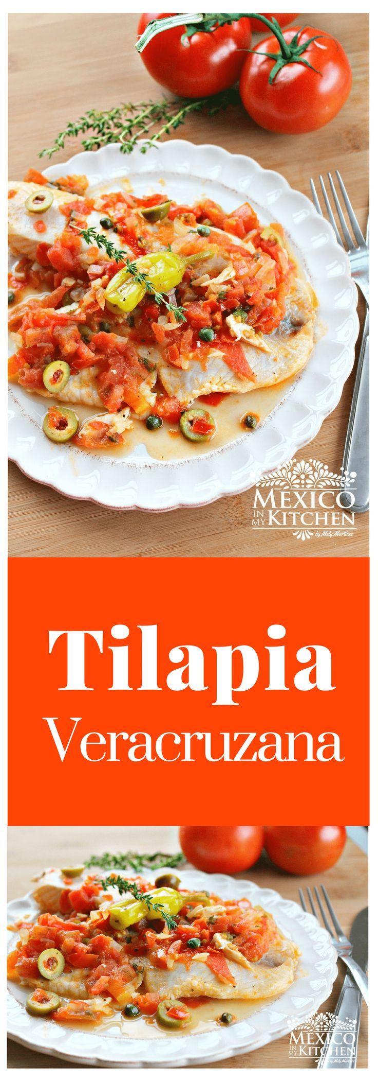 """Esta receta de """"Filete de Tilapia a la Veracruzana"""" es una versión fácil de la receta original de """"Huachinango a la Veracruzana"""", donde el pescado completo se cocina en la salsa. #receta #saboresdemexico #tilapia #cocina"""