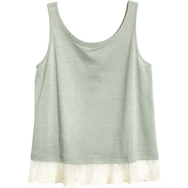 Top sem mangas com renda (2.985 RUB) ❤ liked on Polyvore featuring tops, jersey top, green jersey and green top