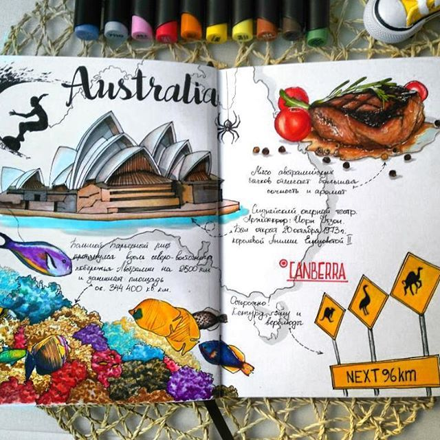 Wow! Beautiful illustration in travel journal of Australia. Great Barrier Reef and Opera House.