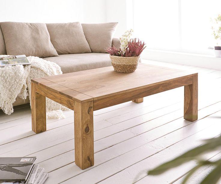 Couchtisch Sheesham Natur 120x70 cm Massiv mit Maserung Möbel Tische Couchtische