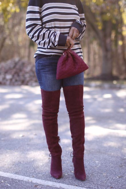 The Love,Cortnie Quilted Three Points Wristlet & Thigh High Boots
