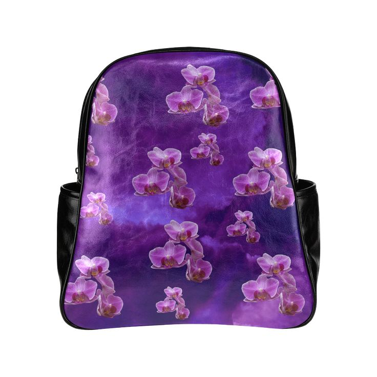 Purple Orchids Multi-Pockets Backpack. FREE Shipping. #artsadd #lbackpacks #flowers