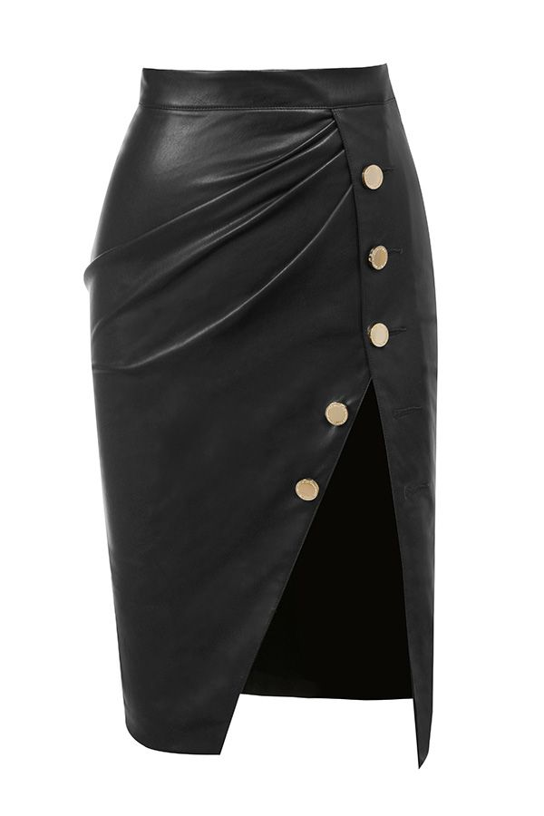 Clothing : Skirts : 'Maja' Charcoal Vegan Leather Thigh Split Skirt