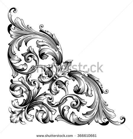 vintage baroque frame scroll ornament engraving border floral retro pattern antique style. Black Bedroom Furniture Sets. Home Design Ideas