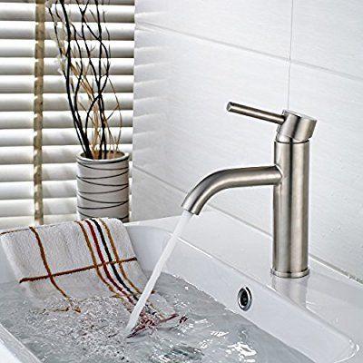 timaco® Modernes Design Hot und Cold Mixer gebürstet Stahl Waschtischarmaturen, Hebel Waschbecken Wasserhahn