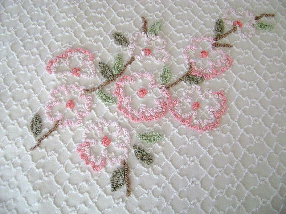 Vintage Chenille Bedspread Full or Queen Size Cabin by TWFaith, $95.00