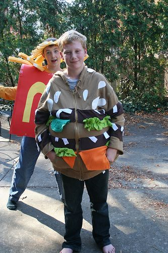Yes Mom, you're right. This hamburger costume IS much better than dressing like Batman for Halloween. #lol #funny #humor #foodhumor