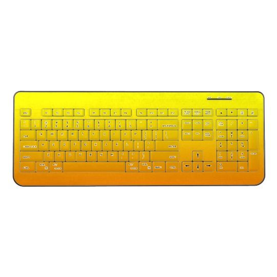 Yellow & Orange Wireless Keyboard. By http://www.zazzle.com/htgraphicdesigner* The perfect accessory to your computer!   This wireless keyboard features a 102 key layout with numeric pad for speedy number crunching. #wireless #keyboard   #computer #collection #yellow #orange #pretty #gift #giftidea #laptop