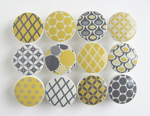 Yellow and Gray Pattern Knobs Dots Diamonds  Wood by LeilasLoft, $57.00